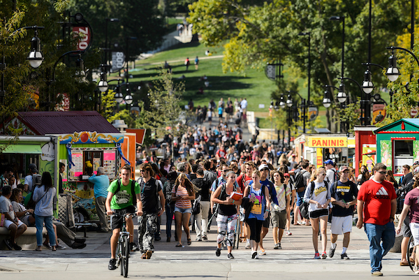 state street library mall pedestrians and food carts